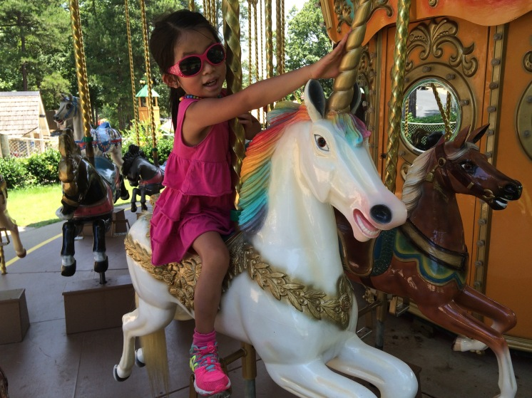 Her favorite animal on the carousel. She must have ridden it at least 10 times during the summer.