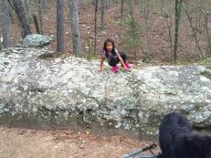 Climbing on a big rock