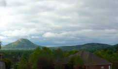View of Pinnacle Mountain during a dog walk